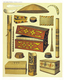 Ancient detailed ethnic collection of african objects and boxes, coast of Dutch New Guinea, isolated elements. By F.S.A. De Clercq and J.D.E. Schmeltz Leiden 1893 New Guinea - 232973080
