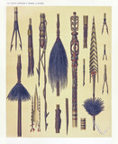 Ancient detailed ethnic collection of african harpoons and spears for fishing, coast of Dutch New Guinea, isolated elements. By F.S.A. De Clercq and J.D.E. Schmeltz Leiden 1893 New Guinea - 232973256