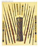 Ancient detailed ethnic collection of african decorated spears, coast of Dutch New Guinea, isolated elements. By F.S.A. De Clercq and J.D.E. Schmeltz Leiden 1893 New Guinea - 232973274