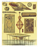Ancient detailed ethnic illustration of various african objects, stilts and shell. Coast of Dutch New Guinea, isolated elements. By F.S.A. De Clercq and J.D.E. Schmeltz Leiden 1893 New Guinea - 232973433
