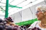Senior woman chooses red grapes at the market - 232979643