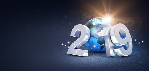 Worldwide greeting symbol for 2019 New Year card