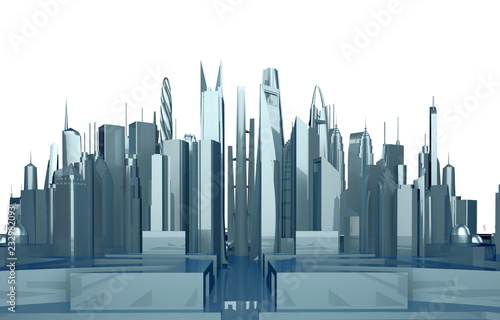 panorama of an abstract city with skyscrapers - 232982093