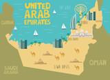 Illustration map of United Arab Emirates with nature, animals and landmarks. Editable Vector illustration - 232985606