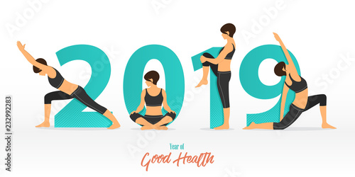 Naklejka Happy New Year 2019 banner with yoga poses. Year of good health. Banner design template for New Year decoration in Yoga Concept. Vector illustration.