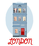Cute illustration of house in London and characters. 5 o'clock in London, Tea time card. Editable vector illustration