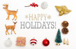Happy holidays message with small Christmas ornaments on a white background