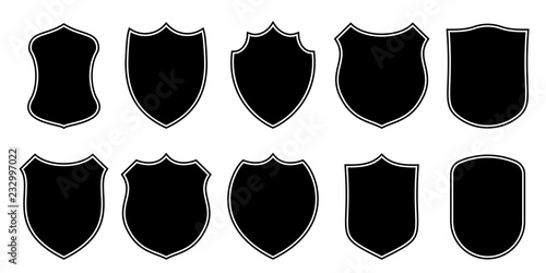 Badge patch shield shape vector heraldic icons. Football or soccer club or military police clothing badge patch blank black templates isolated set - 232997022