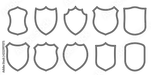 Badge patches vector outline templates. Vector sport club, military or heraldic shield and coat of arms blank icons - 232997075