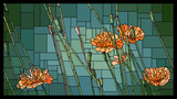 Vector stained glass window with blooming orange poppies with buds. - 232999831