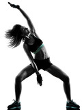 one caucasian woman exercising cardio boxing cross core workout fitness exercise aerobics silhouette isolated on white background - 233006066