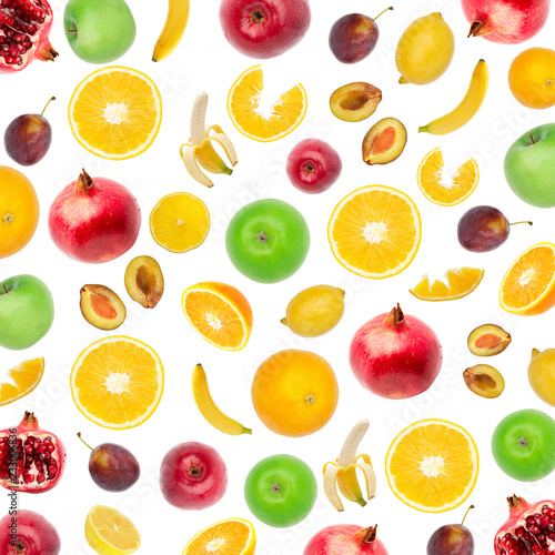 Creative flat layout of fruit, top view. Sliced orange, lemon, plum, banana, pomegranate, apple isolated on white background. Food wallpaper, composition pattern of fresh fruits. - 233006836