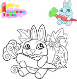 Coloring book, cartoon cute rabbit with a carrot in its paws, funny illustration