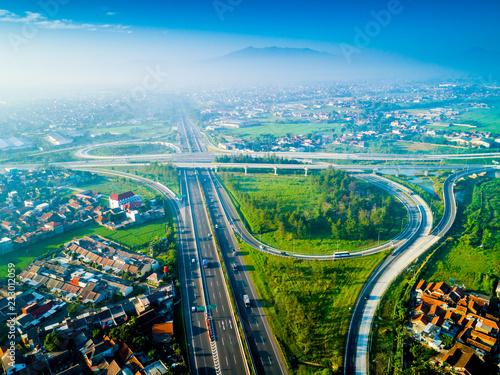 Poster Aerial View of Pasir Koja Highway Interchange, Soroja and Purbaleunyi Toll Road, Bandung, West Java Indonesia, Asia
