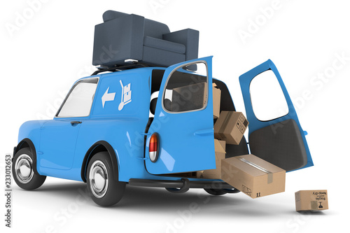 3D Illustration blaues Auto Umzug