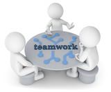 3D Illustration weißes Männchen am Tisch  teamwork - 233013031