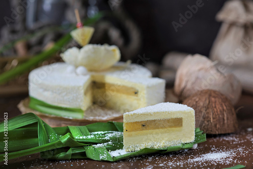 Poster sliced creamy cake with yellow filling