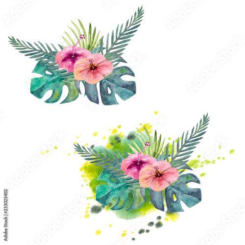 Composition of multicolored tropical leaves. For invitations, greeting cards and Wallpapers. Watercolor - 233023402