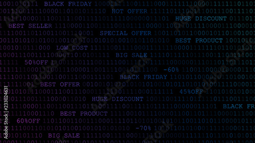 Black friday background of zeros, ones and inscriptions in dark blue colors