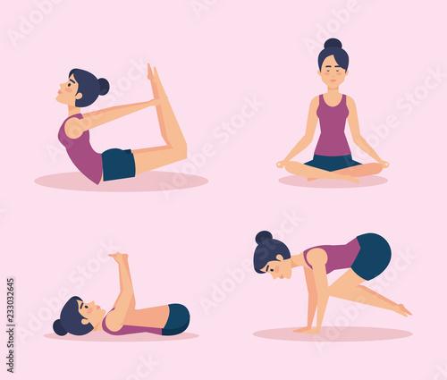 Poster Set of Girls doing yoga design