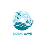 abstract design of ocean icon with waves and seagulls isolated on white background - 233032813