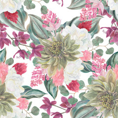 Seamless hand illustrated floral pattern with pink Medinilla Magnifica and orchid flowers. Watercolor botanical background