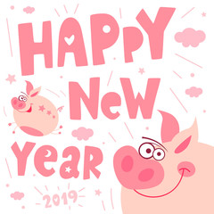 Cute cartoon piggy flying character, funny, smile, nose, heart, piglet, pink. Greeting cards, lettering, asian symbol mascot Year of Pig Design Chinese New Year 2019. Hand drawn vector illustration. © iraida_bearlala