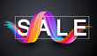Sale promo banner with abstract colorful brush stroke.