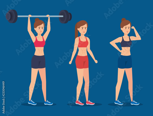 Wall mural Fitness girls with sportswear design