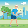 avatar man playing tennis