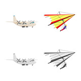 Vector illustration of plane and transport sign. Collection of plane and sky stock symbol for web. - 233048454