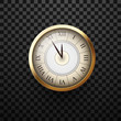 Golden shiny round clock for Christmas and New Year decoration.