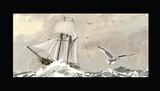 Old sailing ship on a rough sea - 233055809