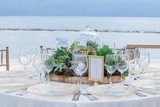 Exterior Ocean Front Table set for Dinner - 233059490