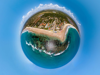 Little planet of Pontal do Cupe beach, Pernambuco, Ipojuca, Brazil