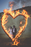 Day of the Dead and a burning heart - 233063627