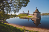 Sightseeing Russia. Gold ring, the city of Pskov. Towers of the Kremlin
