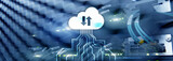 CLoud server and computing, data storage and processing. Internet and technology concept.
