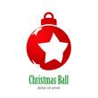 Logotipo con texto Christmas Ball con tres estrellas perspectiva en bola de color rojo