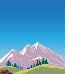 Summer mountains landscape in cartoon style. Vector illustration. © sergeygerasimov