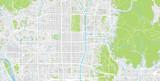 Urban vector city map of Kyoto, Japan