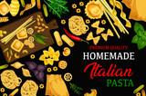 Italian homemade pasta, vector menu - 233097421