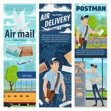 Post air mail delivery service, mailman profession - 233097831