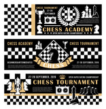 Chess game academy, open tournament vector poster