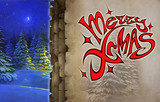 Merry christmas title illustration. Bright red elegant lettering on an abstract and original background - 233114068