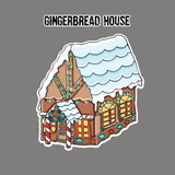Ginger bread house. Sticker. Small cute gingerbread house, with a roof covered with snow and bright illumination. Hand drawn vector illustration. - 233114873