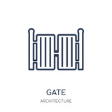 Gate icon. Gate linear symbol design from Architecture collection. - 233118460