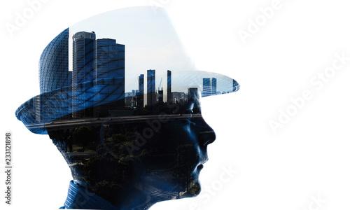 Leinwandbild Motiv Silhouette of boy. Mixed media