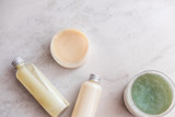 Spa cosmetics on white marble background from above. Beauty blogging concept. Copyspace - 233123631