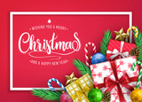 Elegant Merry Christmas and Happy New Year Typography Gold Color Greeting Message with Realistic Christmas  - 233133054